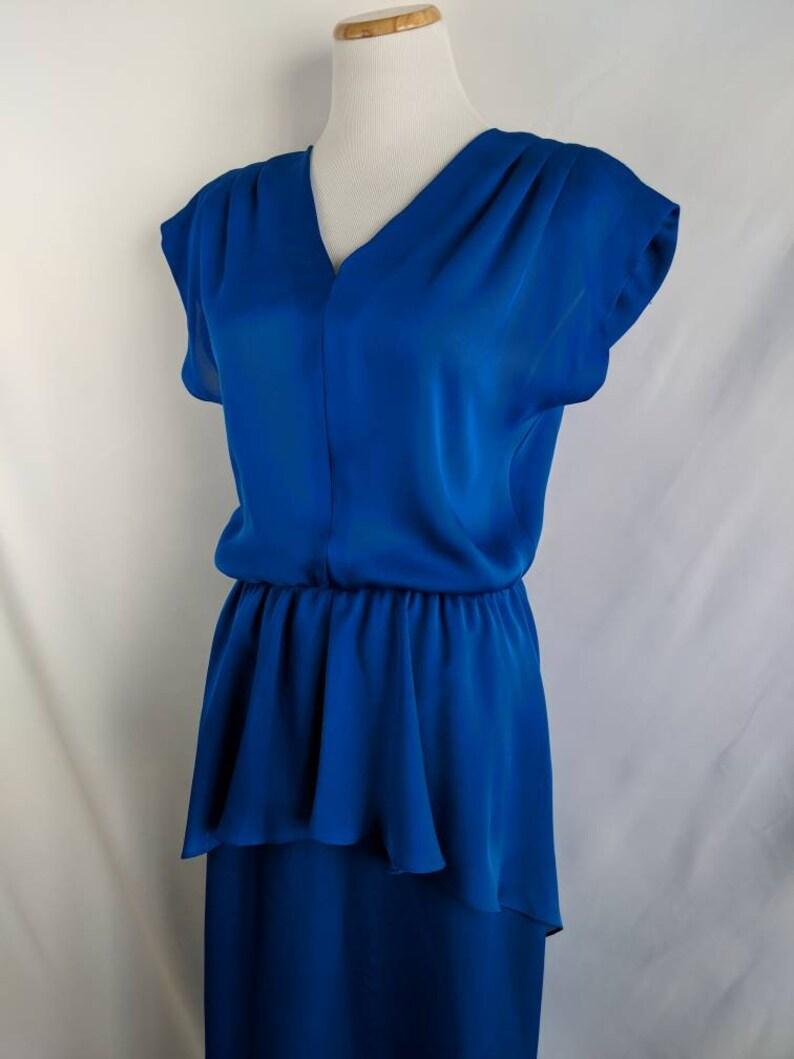 Beautiful Vintage Blue Peplum Dress