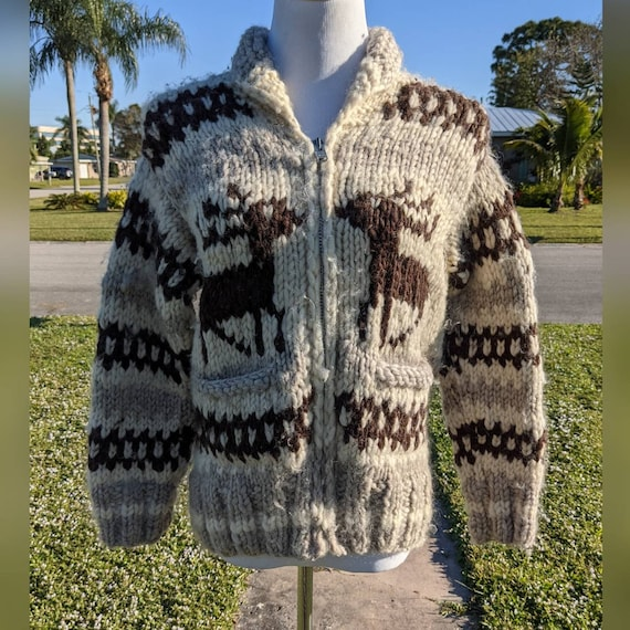 Cowichan Cardigan Sweater with Deer Novelty Print