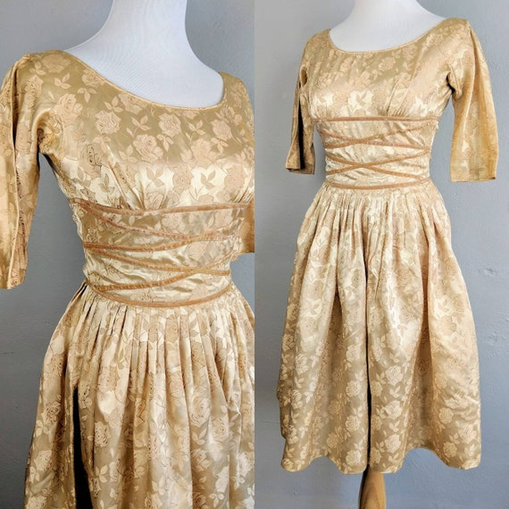 Gorgeous Vintage Champagne Teena Paige Rose Gown