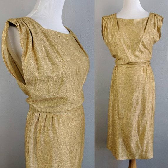 Stunner! Vintage Koret of California Gold Lurex Dr