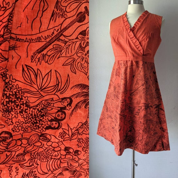 Fabulous Mod Young Hawaii Novelty Print Dress by L