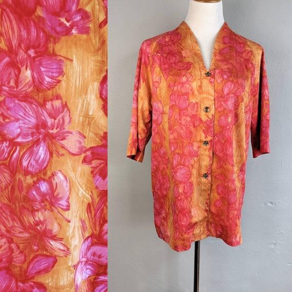 Gorgeous Vintage Kamehameha Hibiscus Print V-Front