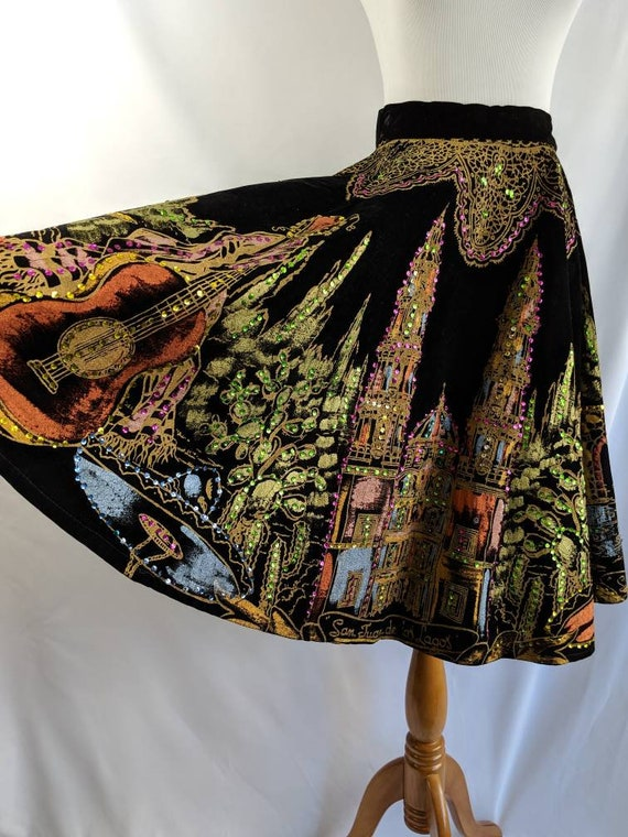 Gorgeous Velvet Hand Painted Mexican Tourist Skirt