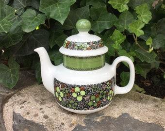 Floral Green Teapot, Arzberg Hutschenreuther, 1970s