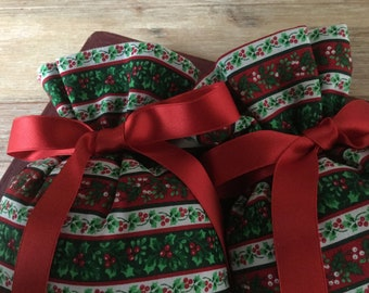Vintage Fabric Scented Sachets,  Red Satin Bows, Made in Germany, Hygge, Lovely Gift