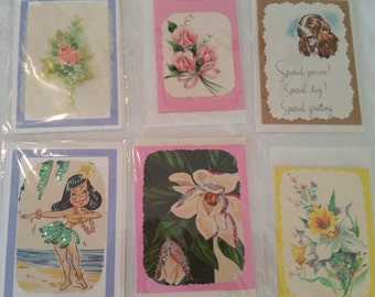 Set of 6 Handmade Vintage greeting cards, generic cards, just because