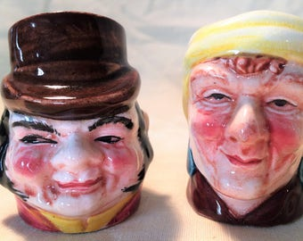 Vintage Ceramic Salt & Pepper Shakers Made by Farmer Rules, Hand Painted Matching Set, Unique Salt and Pepper Shakers, Thanksgiving, Table