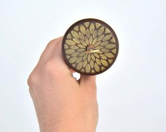 Golden Starflower Wooden Drop Spindle, Top Whorl Drop Spindle, Wood Drop Spindle, Comes with Free Wood Balm Sample