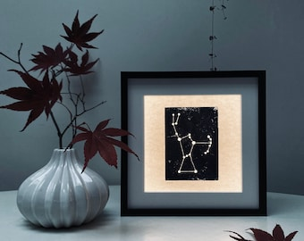 Orion Light Box Night Light Unique Illuminated Constellation Original Woodblock Print box frame. Nursery Decor. Birthday Gift