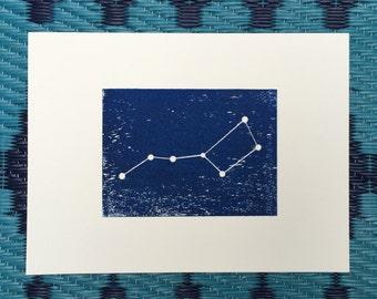 Big Dipper The Plough Saucepan constellation woodblock unframed print. Unique hand pulled 8 x 6 blue wall decor.