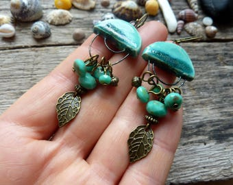 Earrings ceramic and turquoise blue Czech glass, Bohemian style.
