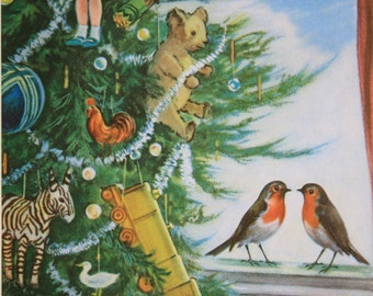 Ladybird Robin Print mounted illustration book page 'The Wise Robin' Series 497 1960s vintage Robins with Christmas tree children's print