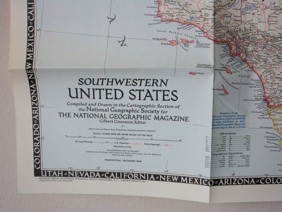 National Geographic Map of Southwestern United States, 1948 Vintage. Worn  USA wall map. Vol XCIV No 6