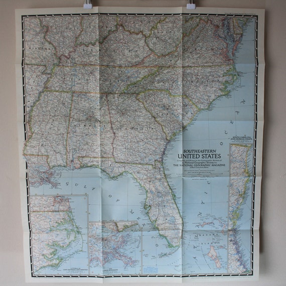 National Geographic Map of Southeastern United States, 1947 Vintage. Worn  USA wall map, Vol XCI No 2