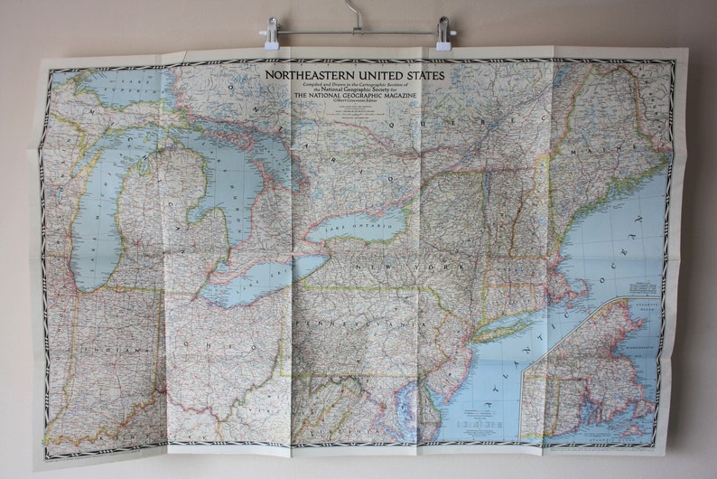 National Geographic Map of Northeastern United States 1945 | Etsy