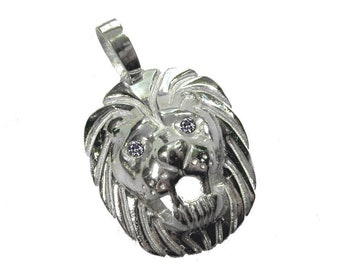lionhad pandent 925 silver lion lion's starsing manjewellery zirconia