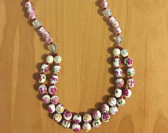 Pink Rose Glass Bead Necklace