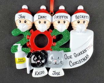 Corona Christmas Ornament 2020 Family Personalized Tree Decor Covid Pandemic Quarantine Mask, Toilet Paper Holiday Gift Customized Names 4