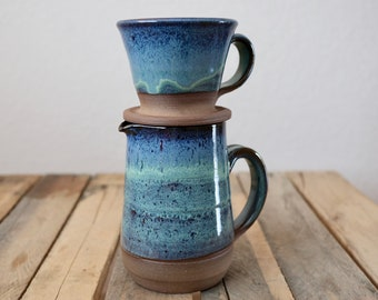 Coffee Pour Over Brewing Pitcher and cone in Pacific Blue Glaze; pottery, coffee pour over, coffee dripper, coffee cone, wheel thrown
