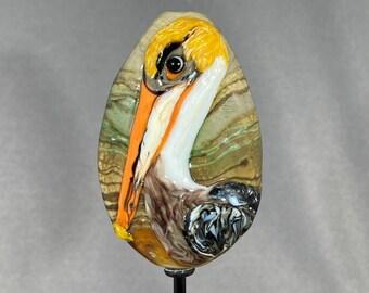 Glass Pelican Bead Pelican Glass Pelican Focal Lampwork Glass Bead Bird Bead