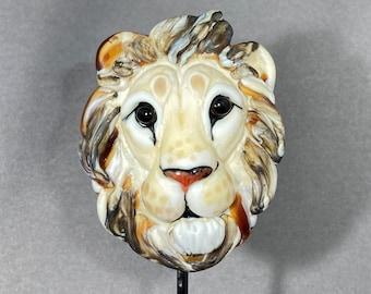 NEW! Lion Pendant Glass Lion Boho Lion Necklace Glass Lion Necklace Lampwork Glass Bead Focal - big cat art - Lion Pendant