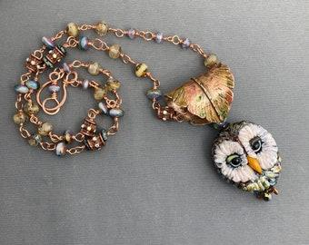 NEW! Owl Pendant Glass Own Copper Pendant Boho Owl Necklace Flameworked Glass Owl Necklace