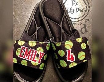 954d0222eac2b0 Custom Sport Sandals-Slides -Personalized Sport Sandals-Team Sandal-Baseball  Softball Football Soccer