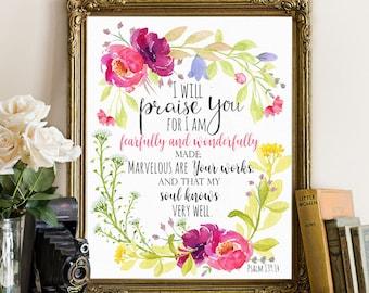 Bible verse wall art print, nursery wall art, fearfully and wonderfully made, psalm 139:14, bible verse, scripture print, bible quote art