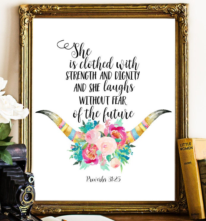Dignity Wall: Bible Verse Wall Art She Is Clothed In Strength And