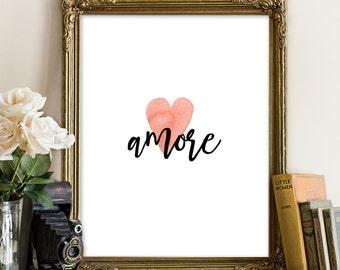 Valentines day Print Valentines Printable Heart Printable Valentines gift Watercolor Art Print Wall Art Printable Home Decor, amore prints