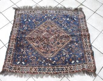 Wool on Wool Vintage Shiraz Rug withI ndigo Blue, Small Kitchen Rug, Handmade Rug, Shabby Chic Interiors