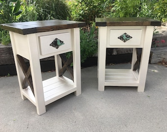 Nightstand Pair/ wooden Nightstand /side table/ end table/ for the home/ bedroom/ living room/ x table/ farmhouse table/rustic nightstand