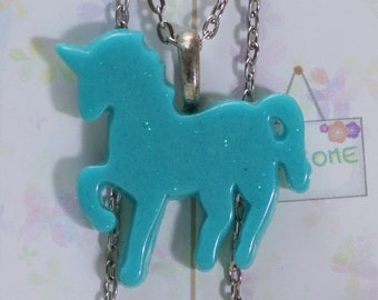 Unicorn-Shaped Glitter Necklace