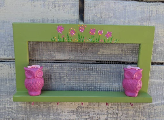 Small Wooden shelf/Pink Owl/Wall decor/Girl's Room/Baby Nursery Shelf/Lime Green/Curio shelf/Jewelry Rack/Hair Accessory Rack/Bathroom Shelf