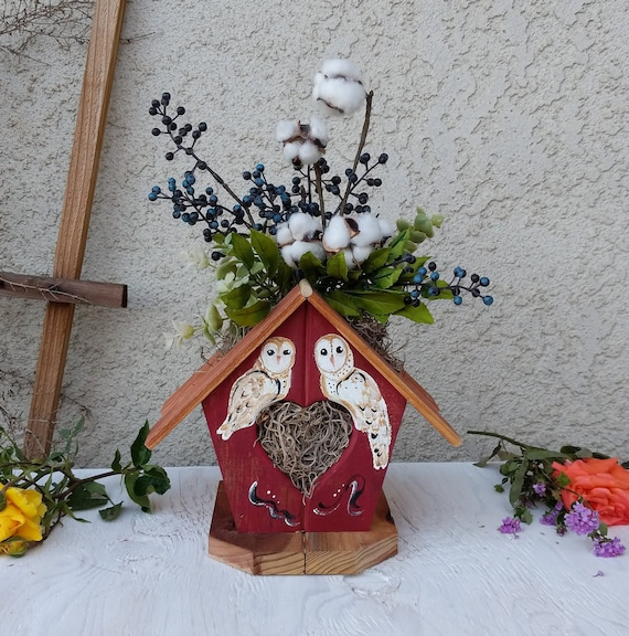 Painted Red Birdhouse -Barn Owl, Table Decor, Owl Decor, Wooden Birdhouse, Cottage Art, Farmhouse Decor ready to ship @ApronStringsOwlLady