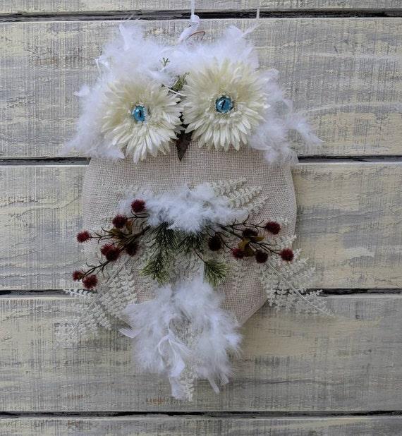 Christmas Wreath,White Wreath,Winter Wreath,Owls,White Owl,Snowy Owl,Holiday Wreath,Owl Wall Decor, Owl Decor, Housewarming Gift