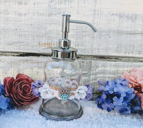 Cute Owl Liquid Soap Dispenser-Small Owl Gift-Girls Room Decor-IKEA New Glass Soap dispenser-Under 15-ready to ship @ApronStringsOwlLady