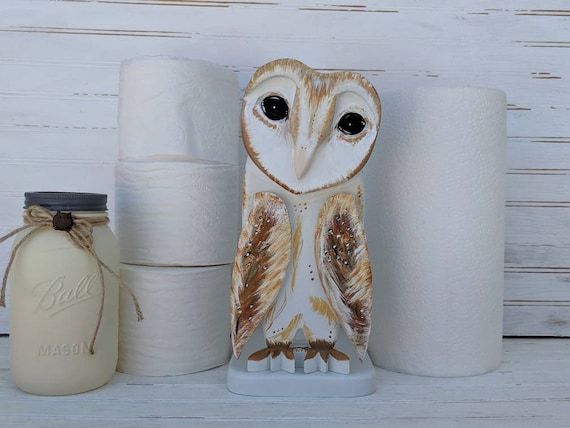 Paper Towel Holder, Barn Owl - Owl Decor - Owl Art - Barn Owl - Woodland Cottage - Cottage Art - Farmhouse Decor - Country Cottage Decor