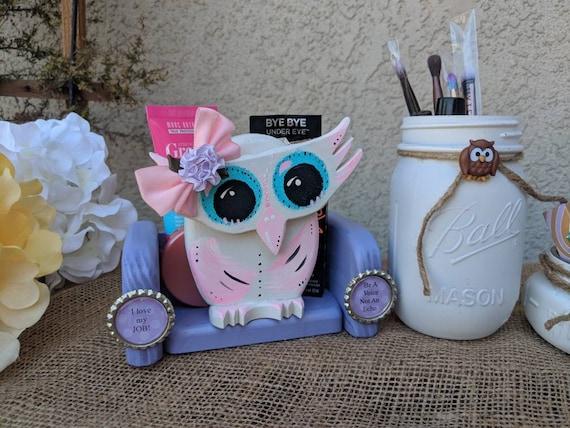 Pink & Purple Owl, Small Teacher Gift, Phone Stand, Wooden Owl, Make up Brush Holder, Desk Decor,Pencil Holder, Owl, Gift, small present