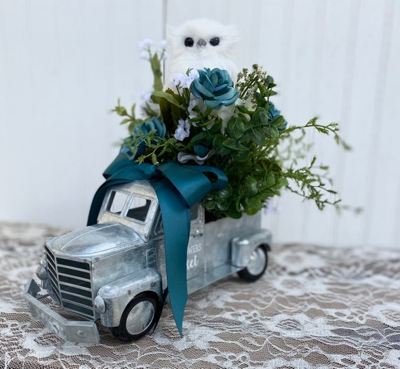 Metal Fresh Flowers pickup with Owl Floral, purple, Eucalyptus and white floral and adorable white owl Ready to ship @ ApronStringsOwlLady