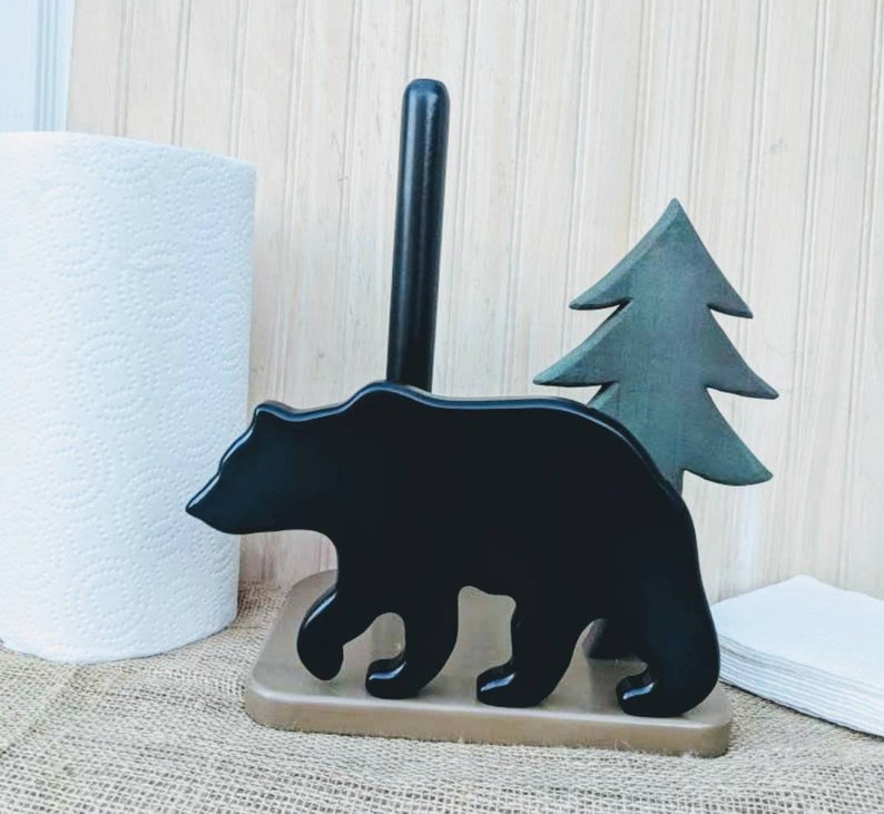 Black Bear Kitchen- Paper Towel & Napkin Holder- Rustic Home Decor -  Woodland Cabin Kitchen decor - great gift! @ApronStringsOwlLady