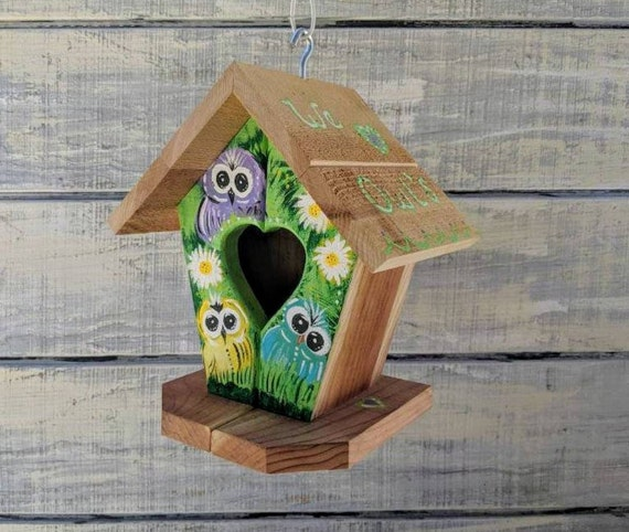 Owl Handpainted Outdoor Birdhouse/Wooden/Whimsical Birdhouse/Owl/Bird House/Outdoor bird house/birdhouse/owl decor/outside owl decorations
