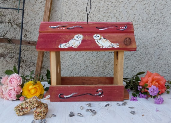 Wooden  Bird feeder -Hand Painted Barn Owl- Owl Home Decor -Wooden Rustic Birdhouse  - Ready to Ship @ ApronStringsOwlLady