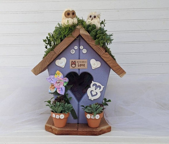 Owl Birdhouse - Owl Home Decor - Decorative Lavender, Wooden, Hand painted, handcrafted  Ready to Ship @ ApronStringsOwlLady
