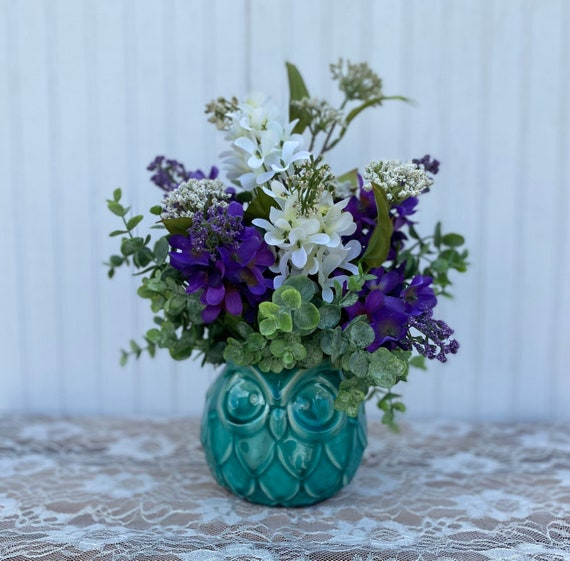 Lovely Teal Porcelain Owl Floral with Purple and White Hydrangeas Ready to ship @ ApronStringsOwlLady