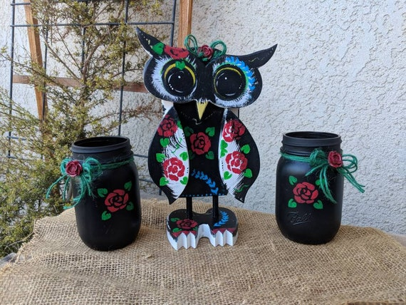 Black Owl Floral Rose Pattern~Unique Tattooed Owl Lady Set~HandPainted Owl~Wooden OOAK Owl~Cute Owl Gift~Ready to Ship @ ApronStringsOwlLady