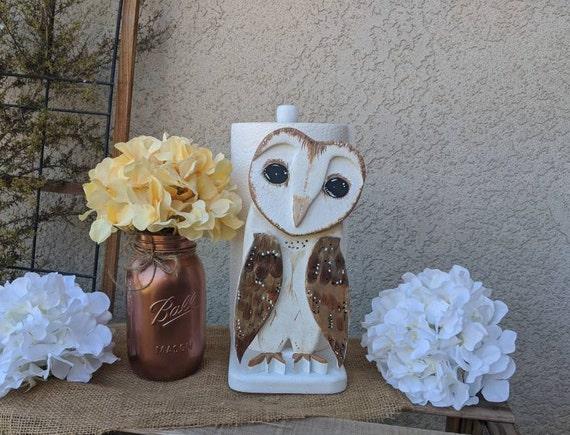 Barn Owl Paper towel holder~Wooden Owl~Owl Fall Decor & Gift~Woodland~Owl~Farmland Decor~Original Art Ready to Ship @ApronStringsOwlLady