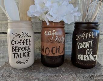 Coffee Canister Set/Wide Mouth Mason Jar Set/Cafe latte/Old Fashioned/Kitchen Decor/Coffee Sign/Mocha/Latte/Coffee/Farmhouse/Retro Kitchen