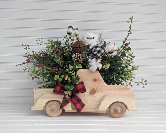 Farmhouse Wooden Truck Table Decor ~  Owl Home Decor - Fall Floral Arrangement ~ Winter Holidays Table Decor @ ApronStringsOwlLady