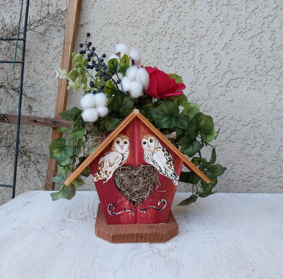 Country Home Decor -Hand Painted Barn Owl -Wooden Birdhouse - Rustic Birdhouse -Mothers Day - Ready to Ship @ ApronStringsOwlLady